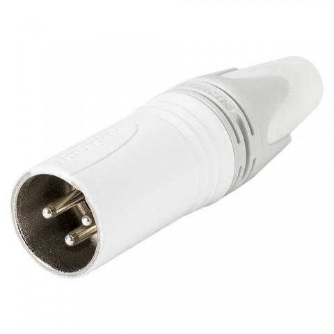 NEUTRIK XLR, 3-pol , Metall-, Löttechnik-Kabelstecker, versilberte(r) Kontakt(e), gerade, weiß