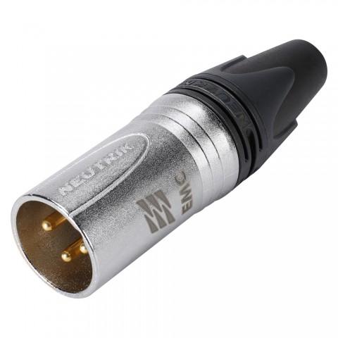 NEUTRIK XLR, 3-pol , Velvet-Chrom-Gehäuse-, Löttechnik-Kabelstecker, hartvergoldete(r) Kontakt(e), gerade, Velvet Chrome