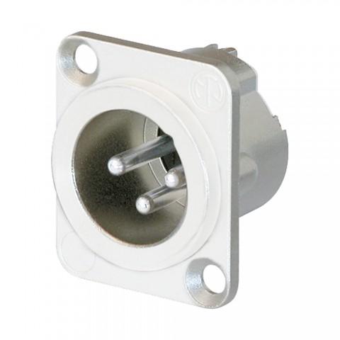 NEUTRIK XLR, 3-pol , Metall-, Löttechnik-Einbaustecker, versilberte(r) Kontakt(e), Type D, weiß