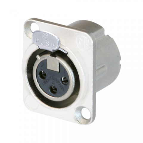 NEUTRIK XLR, 3-pol , Metall-, Löttechnik-Einbaubuchse, versilberte(r) Kontakt(e), Type D, weiß