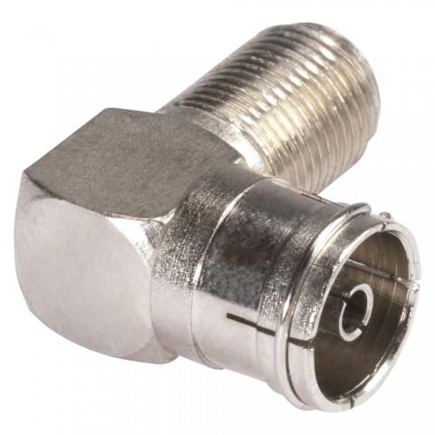 HICON  Adapter | Antenne female/F female abgewinkelt, silbergrau