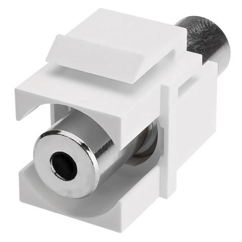 Mini-jack (3,5mm), 3-pole , plastic-, Patch-female connector, nickel plated contact(s), Keystone Clip-In, white