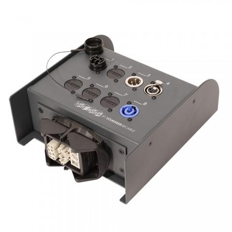 Sommer cable Digital LWL-Verteilsystem , HI-FIBER4-FP mit 4 x LC-Input/XLR 3-pol female/XLR 3-pol male/Multipin female (HAN-ECO, Anbaugehäuse mit 2 Bügel)/powerCON® (blau); MENNEKES/HICON/NEUTRIK®