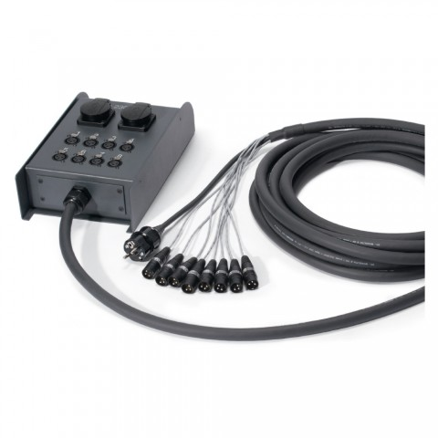 Sommer cable AES / EBU, DMX & Power System , XLR 3-pol male/XLR 3-pol female/Schuko-Einbaudose (IP54)/Schukostecker; HARTING/HICON