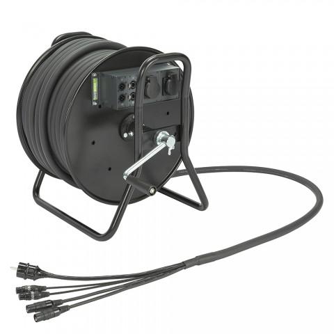 Sommer cable Netzwerk- / DMX- & Power- System , Ethercon female/Ethercon male/XLR 3-pol female/XLR 3-pol male/Schuko-Einbaudose (IP54)/Schukostecker; NEUTRIK/HICON