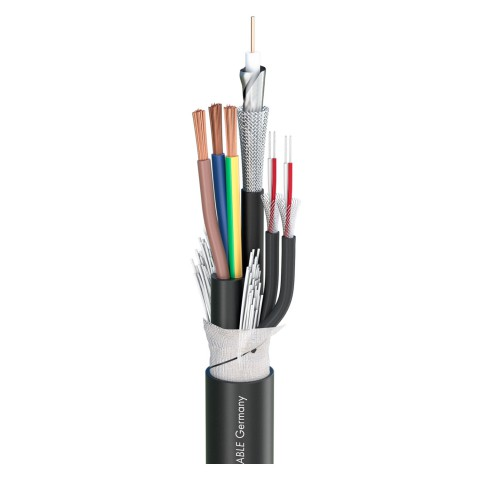 Transit MC 123 HD; Video: 1 x 0,60/2,30; Audio: 2 x 2 x 0,14 mm²; Power: 3 x 1,50 mm²; PVC Ø 13,10 mm; schwarz