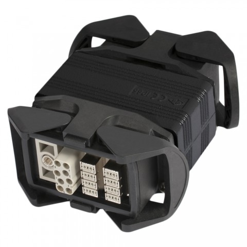 Sommer cable    Multipin male (HAN-ECO w clamps)/Multipin female (HAN-ECO w. clamps) straight, black