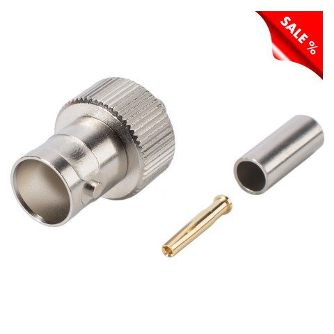 Telegärtner BNC crimp-female connector 0.4/2.5, straight, nickel coloured