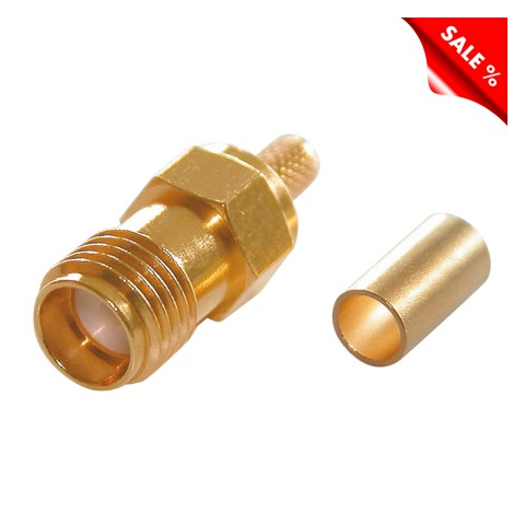 Telegärtner SMA crimp-female connector 0.45/1.5, PTFE-isolated, straight, gold