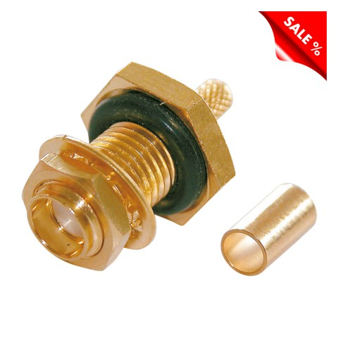 Telegärtner SMA crimp-female connector 0.45/1.5, PTFE-isolated, Reverse, straight, gold