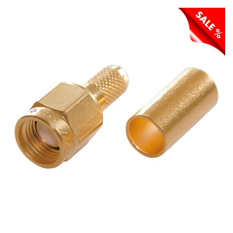 Telegärtner SMA crimp-male connector 0.45/1.5, PTFE-isolated, Reverse, straight, gold