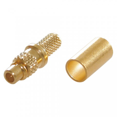 Telegärtner MMCX crimp-male connector 0.45/1.5, PTFE-isolated, straight, gold