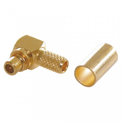 Telegärtner MMCX crimp-male connector 0.45/1.5, PTFE-isolated, angled, gold