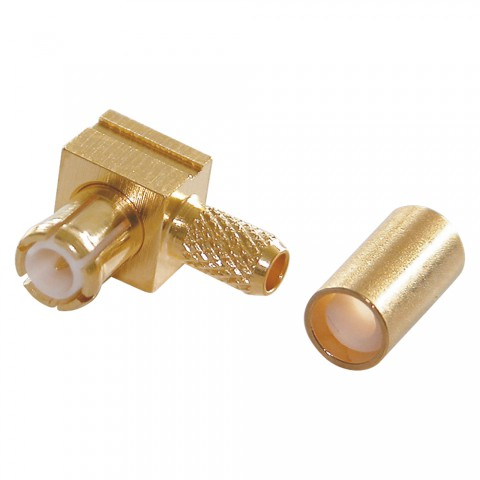 Telegärtner MCX crimp-male connector 0.45/1.5, PTFE-isolated, angled, gold