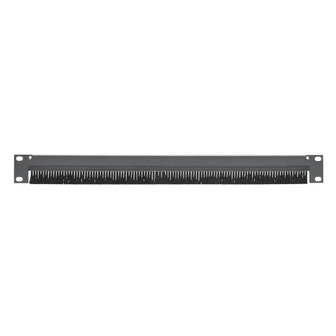Rack panel, with brushes for cable inlet, Brush height 20 mm, 1 HE, Sheet steel, 1.5mm, black, Strain relief possible with ZEPB