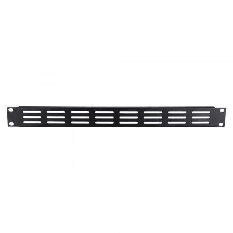Rack panel with fan recesses, Finish RAL 9011 smooth matt, 1 HE, sheet steel 1.2mm, black