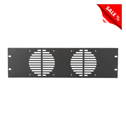 Rack panel, for ventilation and with fan spaces, 1.2 mm, steel, 3 HE, black