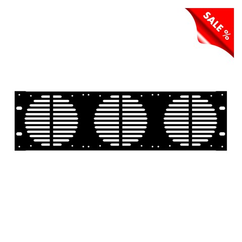 Rack Panel, zur Ventilation und mit Lüfteraussparungen, 1,2 mm, Stahl, 3 HE, schwarz