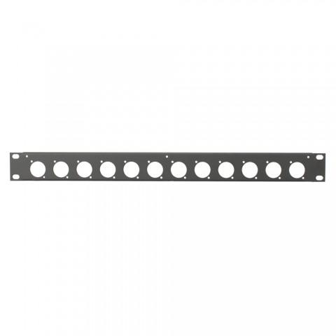 Rack panel, universal D series, Finish RAL 9011 smooth matt, 1 HE, sheet steel 1.2mm, black