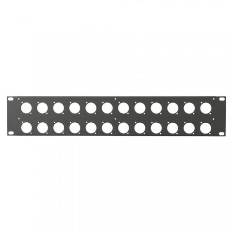 Rack panel, universal D series, 1.2 mm, steel, 2 HE, black