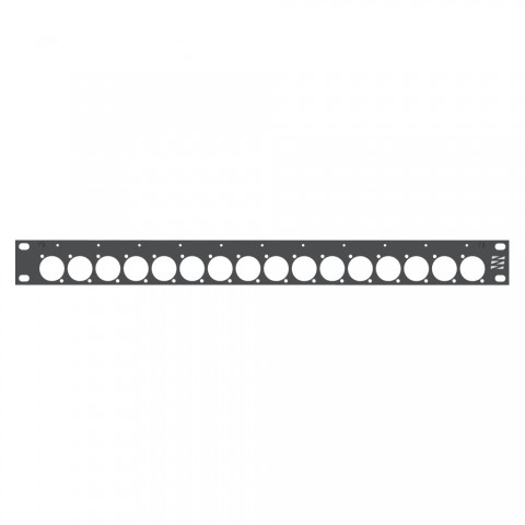 Sommer cable Rack panel, universal D series, Aluminum milled, 4mm, 1 HE, anthracite, including stainless steel reinforcing angles