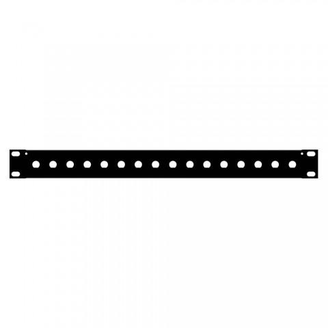 Rack panel, with BNC holes, Finish RAL 9011 smooth matt, 1 HE, sheet steel 1.2mm, black