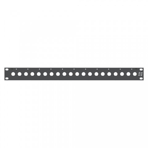Sommer cable Rack panel, with BNC holes, Aluminum milled, 4mm, 1 HE, anthracite, including ZEPB strain relief