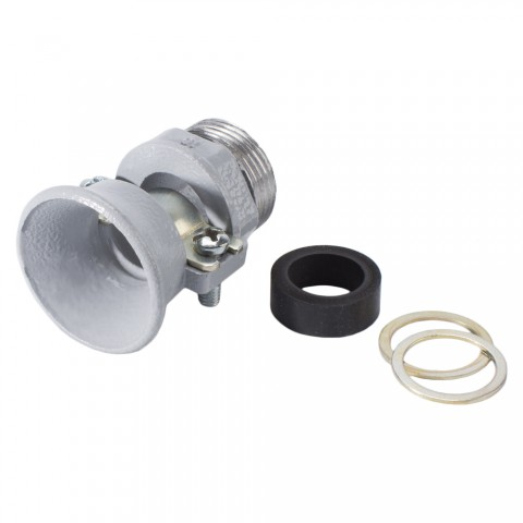 Strain relief, with trumpet outlet and gasket for PG Thread, grey