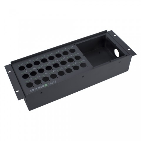 "Sommer cable Stagebox empty casing, 19"" BB-SERIES, 24 holes/1 x multipin panel hole, 4 HE, width: 483 mm, anthracite RAL7016"