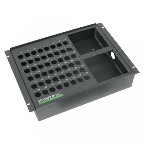 "Sommer cable Stagebox empty casing, 19"" BB-SERIES, 48 holes/2 x multipin panel holes, 8 HE, width: 483 mm, anthracite RAL7016"