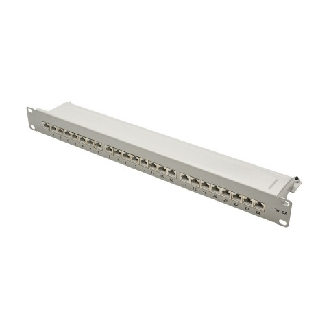 "19"" PATCHPANEL, CAT.6a, 500 MHz, 1 HE, backward compatible with CAT.5e and CAT.6"