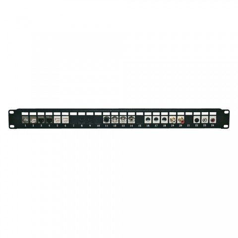 """Device cup insert for 24 Keystone clip modules, 19"""" Keystone patchpanel, 1 HE"""