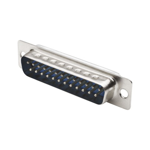 SUB-D (8-channel), 25-pole , metal-, Soldering-male connector, straight, silver-grey