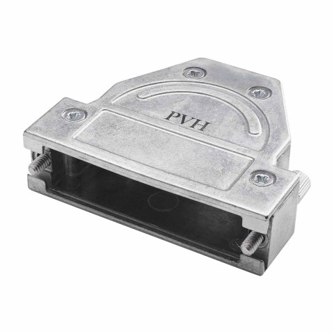SUB-D (8-channel)/full metal shell, 45°/ 90° cable outlet, metal-, straight, silver-grey