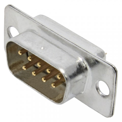 FCT SUB-D, 9-pole , metal-, Soldering-male connector, gold plated contact(s), straight, nickel coloured