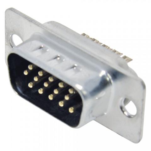 FCT SUB-D/HD (VGA), 15-pol , Metall-, Löttechnik-Einbaustecker, vergoldete(r) Kontakt(e), gerade, nickelfarben