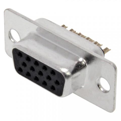 FCT SUB-D/HD (VGA), 15-pol , Metall-, Löttechnik-Einbaubuchse, vergoldete(r) Kontakt(e), gerade, nickelfarben