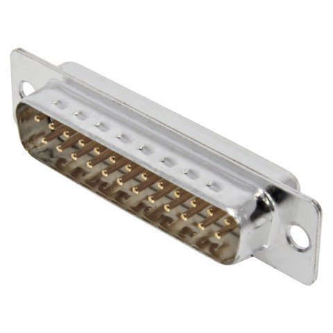 FCT SUB-D (8-channel), 25-pole , metal-, Soldering-male connector, gold plated contact(s), straight, nickel coloured