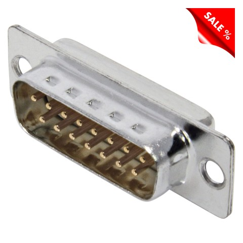 FCT SUB-D (5-channel), 15-pole , metal-, Soldering-male connector, gold plated contact(s), straight, nickel coloured