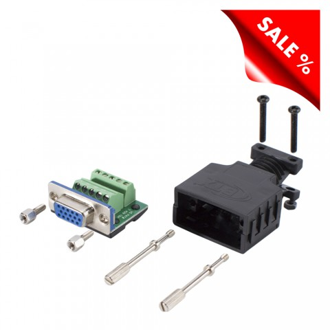 HD (VGA)/SUB-D, 15-pole , screw-type-female connector, straight/Installation RGBHV