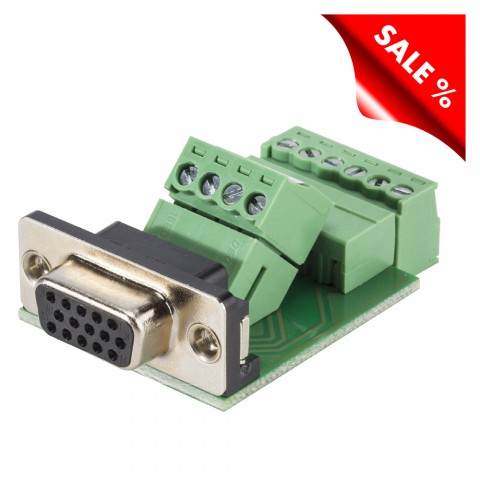 HD (VGA)/SUB-D, 15-pole , screw-type-female connector, straight/Installation version for panel mounting