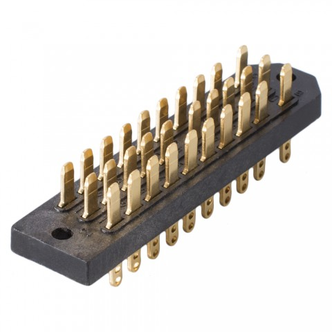 Male multipin clip connector DIN 41622, 30-pole , metal-, Soldering-male connector, gold plated contact(s), straight