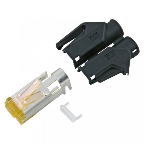 HIROSE RJ45 CAT.6a, 8-pole , plastic-, crimp-male connector, gold plated contact(s), straight