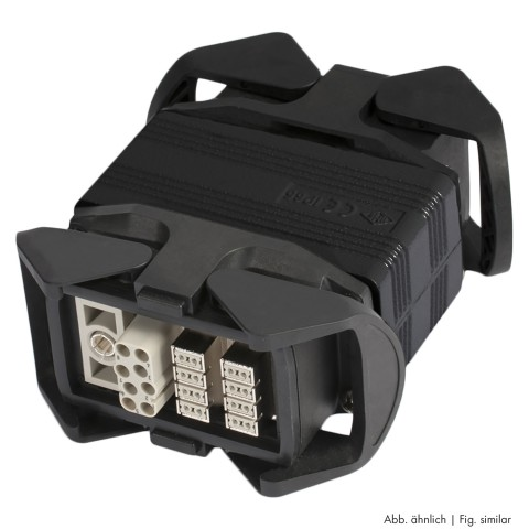 Sommer cable  | Multipin male (HAN-ECO w clamps)/Multipin female (HAN-ECO w. clamps) straight, black