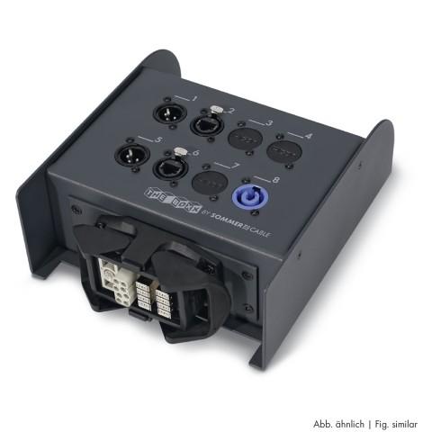 Sommer cable Netzwerk- / DMX- & Power- System , Multipin female (HAN-ECO, Aufbaugehäuse mit Bügeln)/HI-RJ45-10GBit/XLR 3-pol female/powerCON®; HICON