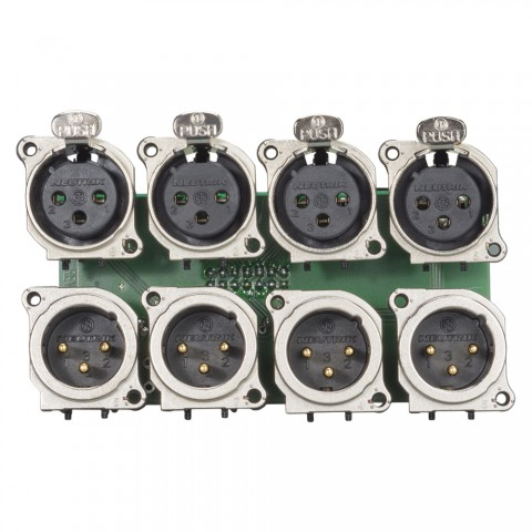 Connector Module 4 x XLR female + 4 x XLR male NEUTRIK B-Serie (female + male parallel per channel switched), 3-pole , 2 HE, 3 BE, metal-, 12 lift terminals, flat connector 14-pin socket-, gold plated contact(s), nickel coloured, for SYS-series