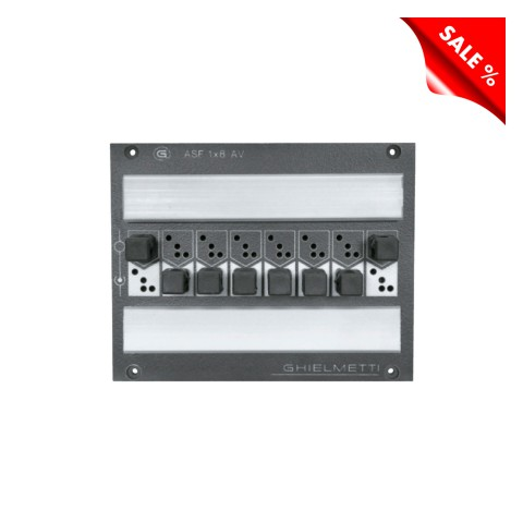 "GHIELMETTI Switching patch panel AES / EBU, 8 channel, 19""/4 , 2 HE, 3 BE for SYSBOXX; incl. 8 connectors 3-pin + 8 soldered connectors GAS323LAC, 5mm layered laminate, colour: anthracite RAL 7016"
