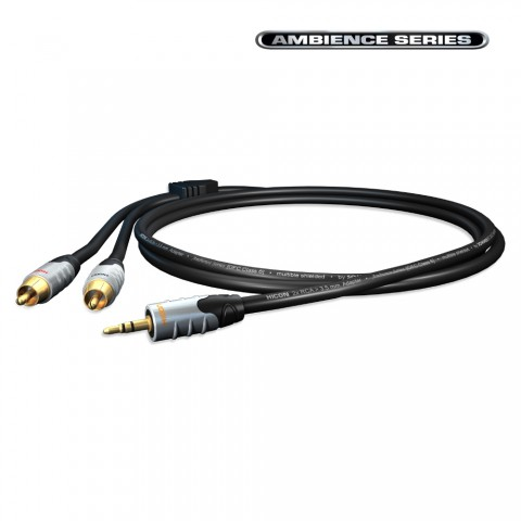 Adaptercable, y-cable RCA / MiniJack, 2  | RCA phono, HICON / 3.5 mm stereo mini jack, HICON