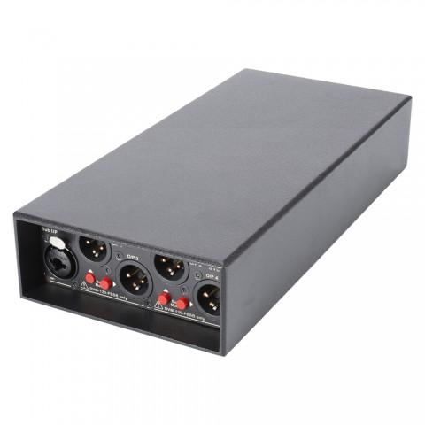 CARDINAL DVM Zentraleinheit, Zentraleinheit inkl. Beltpack, IN: 1 x Stereo-IN über 2 x Combo XLR / Jack symm. inkl. Pegelumschaltung/1 x Sub-IN über Combo XLR / Jack symm. | OUT: 4 x Beltpack-OUT über 3-pol XLR male, B x H x T: 120 mm x 51 mm x 260 mm
