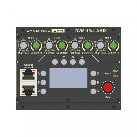 "CARDINAL DVM ¼ -19""-Fully automated mixer, Conference, IN: 4 x microphone IN balanced via 3-pole 3.5 mm euroblock/2 x analogue stereo IN via 2-pole 3.5 mm euroblock/1 x digital stereo IN, SPDIF via RCA/1 x AUX IN balanced via 3-pole 3.5 mm euroblock/1 x D"